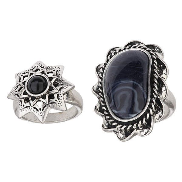 TOPSHOP Mix Shape Stone Ring Set (21 AUD) ❤ liked on Polyvore featuring jewelry, rings, black, star ring, black jewelry, topshop rings, stone jewellery and topshop