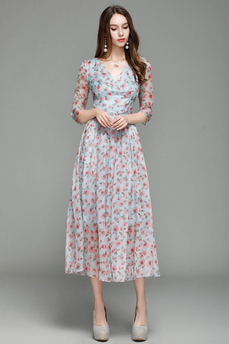 04dc88cef72d Shop Vintage Floral Print Midi Dress With Sleeves online. SheProm offers  formal, party, casual & more style dresses to fit your special occasions.