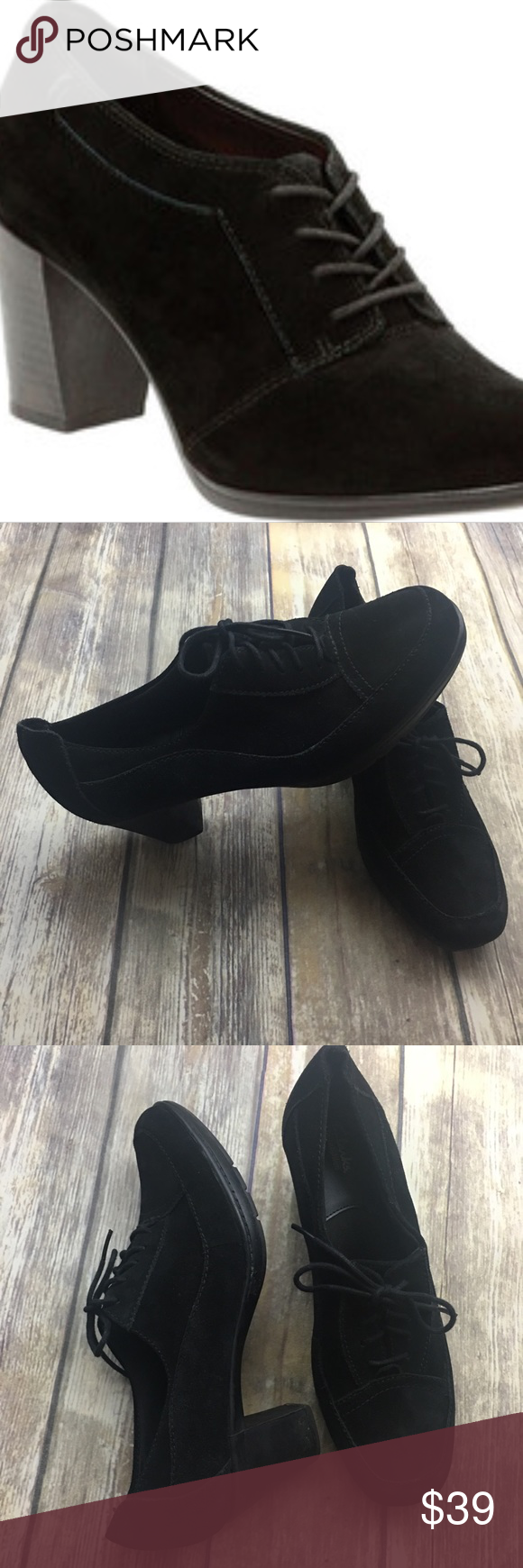 66ef5e0b505b4 Clarks Black Suede Araya Hale Lace Up Pumps Black suede lace up pumps. In  excellent