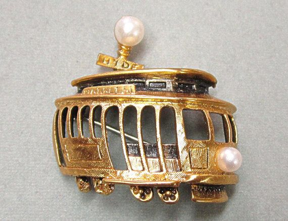 Tortolani San Francisco Cable Car Pin Brooch By Cobayley On Etsy San Francisco Cable Car Vintage Jewelry Earrings Vintage Jewelry