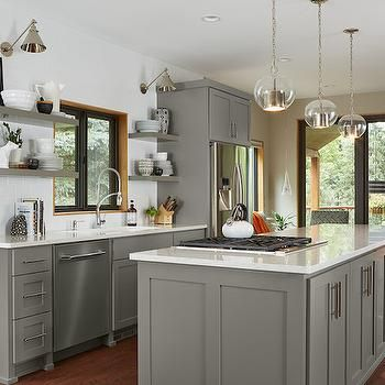 Gray Floating Shelf Transitional Kitchen Benjamin Moore