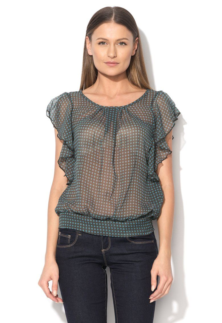 Dark Gray Veil Blouse With Polka Dots - United Colors Of Benetton