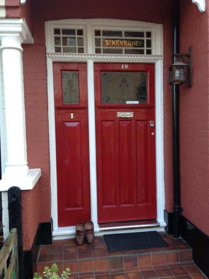 Awesome Red Door With Matching Side Panel.