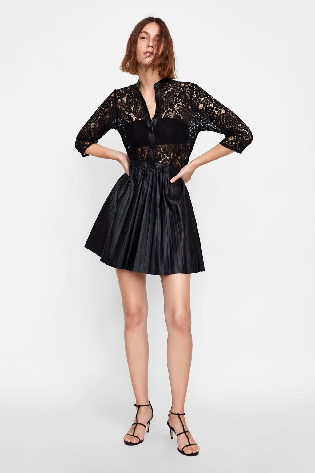 c7a9c707454952 Image 1 of FAUX LEATHER DRESS WITH CONTRASTING LACE from Zara Faux Leather  Dress, Leather
