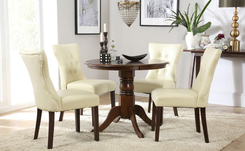 Kingston Round Dark Wood Dining Table With 4 Bewley Ivory