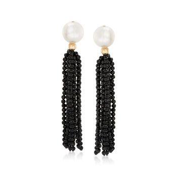 d3f7644b5cf30 Cultured Pearl and 35.00 ct. t.w. Black Spinel Tassel Drop Earrings ...
