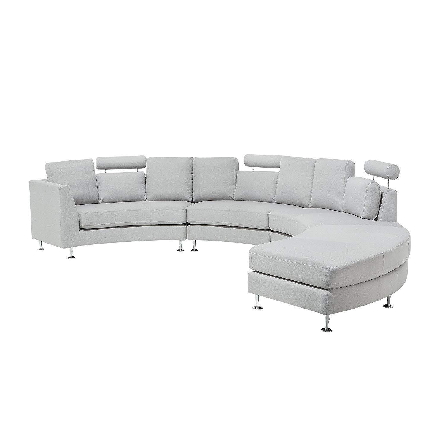 Amazon Sofa Bed Grey Beliani Modern Round Sectional Sofa In Fabric Rotunde Light Grey