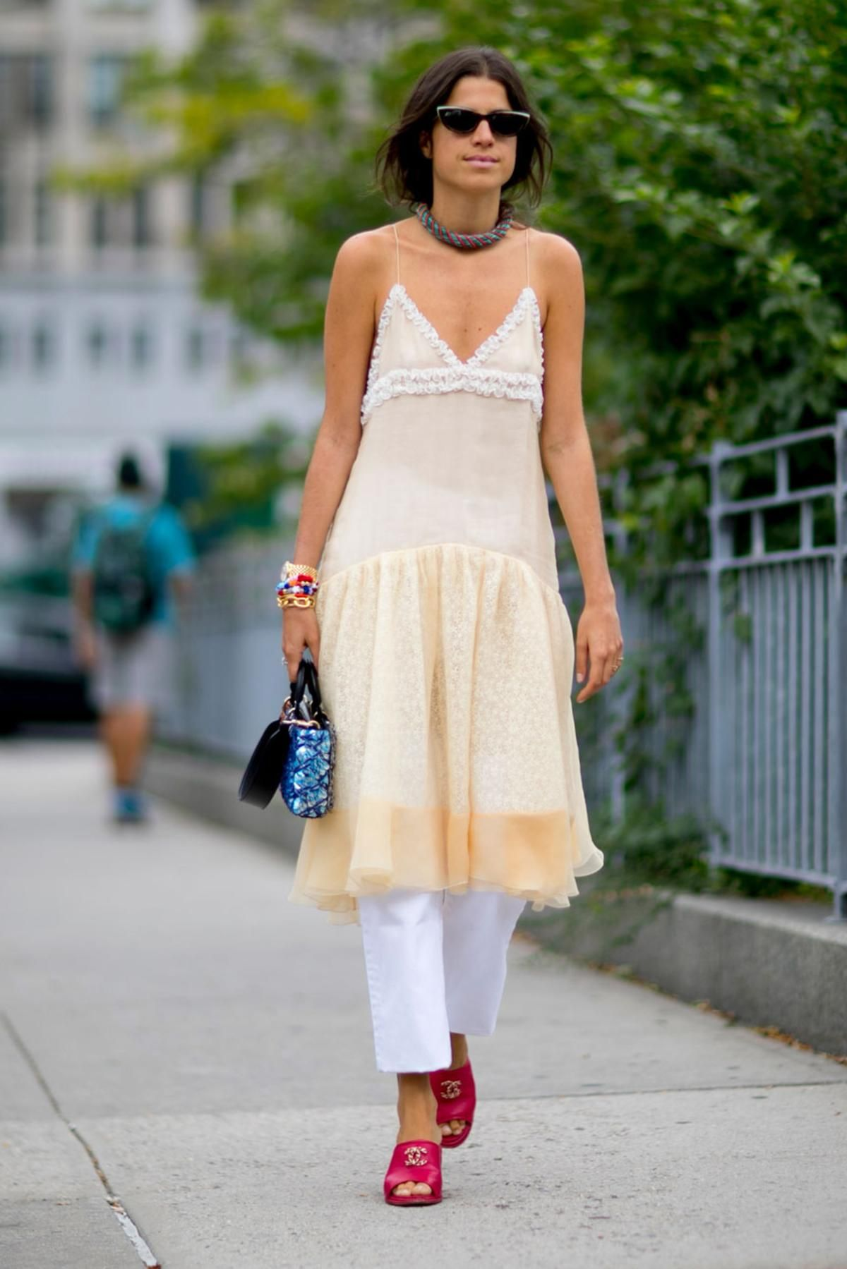 Leandra Medine on the street at New York Fashion Week. Photo…