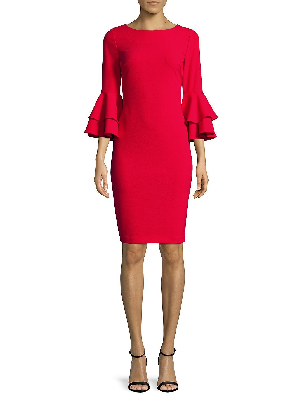 357f10548c1 Calvin Klein - Tiered Bell-Sleeve Sheath Dress - Walmart.com