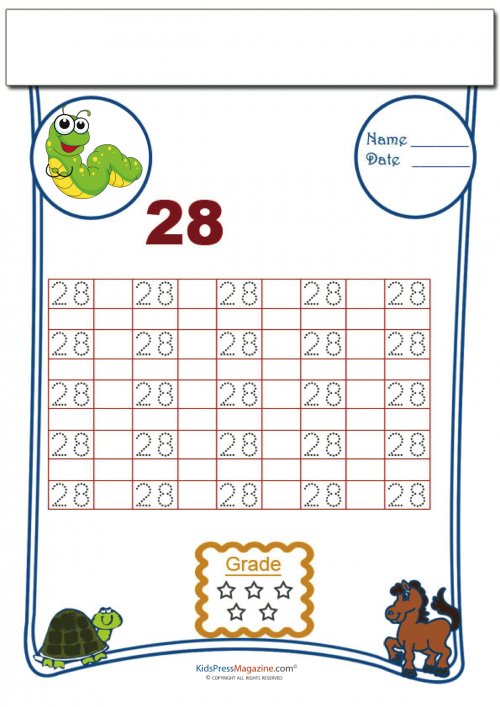 Tracing can be a lot of fun, and this free, printable worksheet is a great way for your child to have fun and learn. With a focus on the number 28, the worksheet gets students to trace it twenty-five times. There are also spaces for children to try writing the number on their own.   Read more at http://kidspressmagazine.com/cool-math/worksheets/numbers/tracing-numbers-28.html#bYhkmiwibql6EsCW.99 #numbers #math #tracing #printable