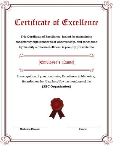 Award Of Excellence Certificate Template (5) - TEMPLATES ...