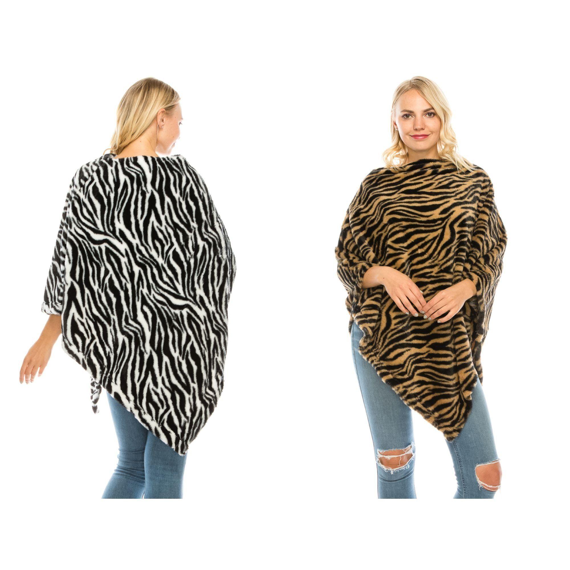Zebra Pattern Poncho Shawl #scarvesamp;shawls