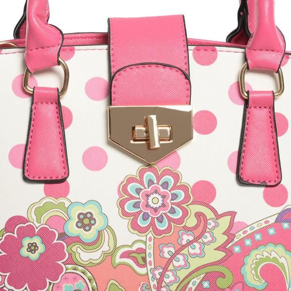 High Quality Dots Bag Ladies Flower Fashion Pu Leather Handbag For Women Item Type:Handbags Brand Name:ZIWI Exterior:Silt Pocket Size:Medium(30-50cm) Number