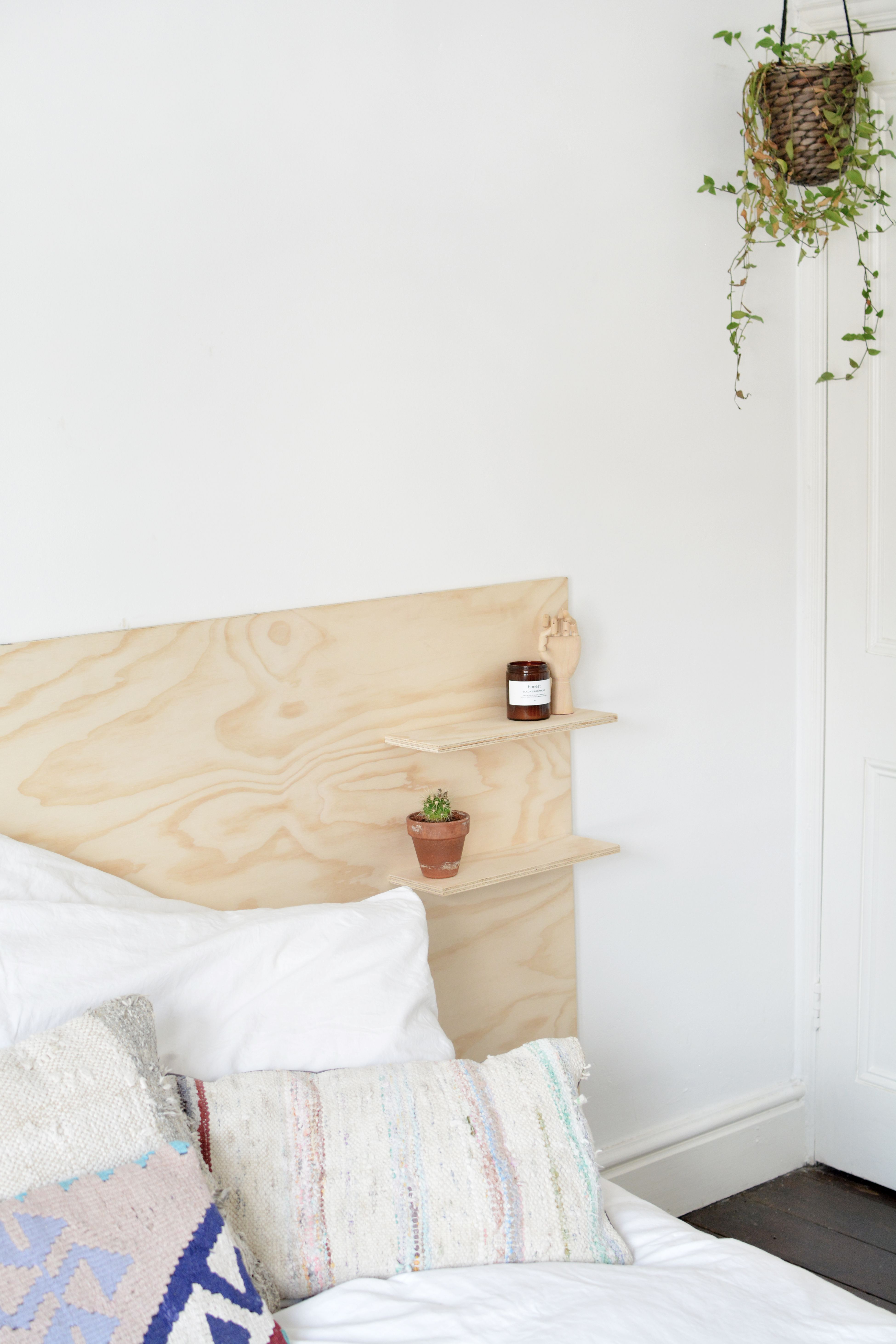 Easy To Make Modern Plywood Headboard With Built In Shelves Diy