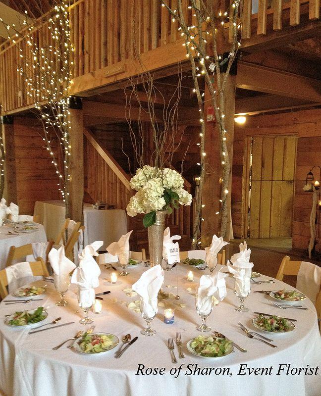 Pratt Place Barn Wedding Hydrangeas  Curly willow, silver vase