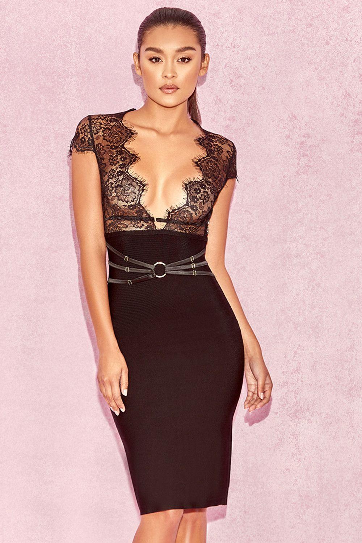 f168991cb915b Gaia Black Lace and Bandage Midi Dress