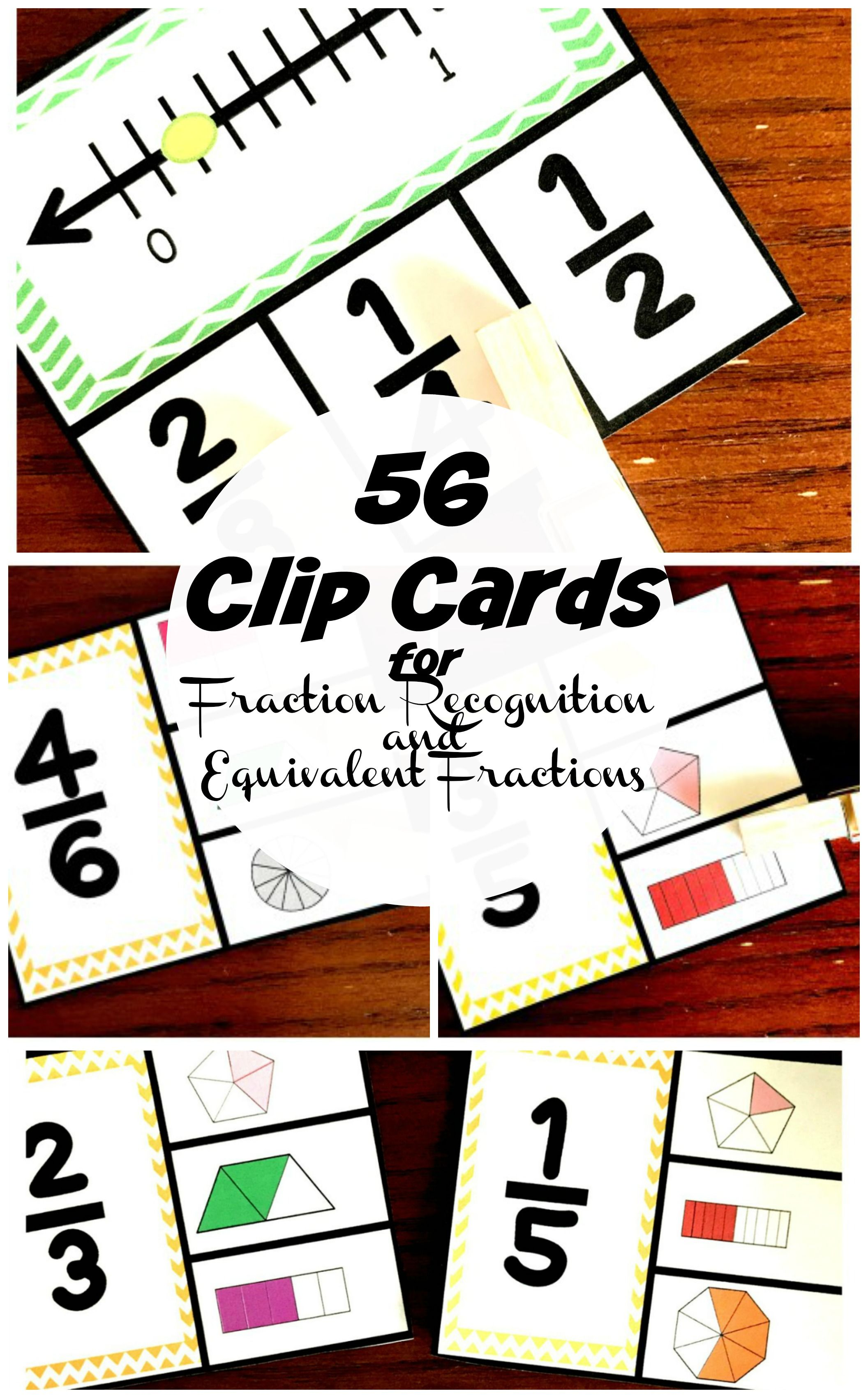 56 Fraction Clip Cards