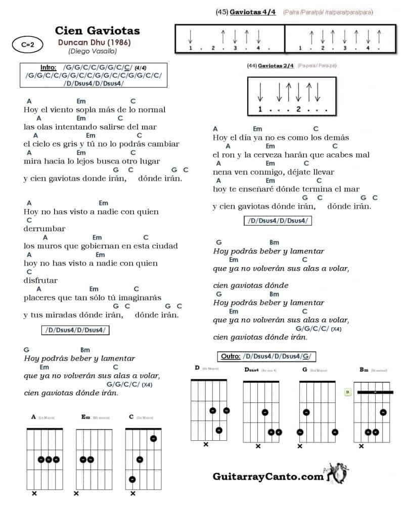 Acordes Cien Gaviotas Incluye Ritmo Aprende A Tocarla A La Guitarra Guitarras Tutorial De Guitarra Canciones