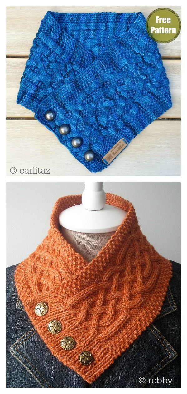 Photo of Celtic Cable Button Cowl Free Knitting Pattern
