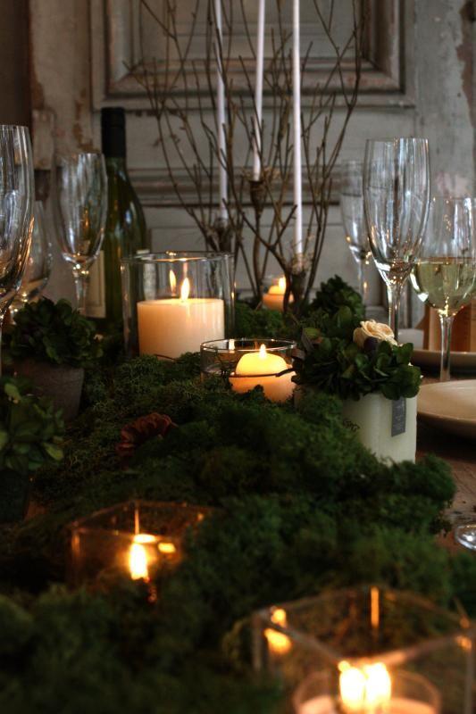 モスのテーブル ジィール オンラインショップ テーブルコーディネート 結婚式 テーブル 装花 キャンドル