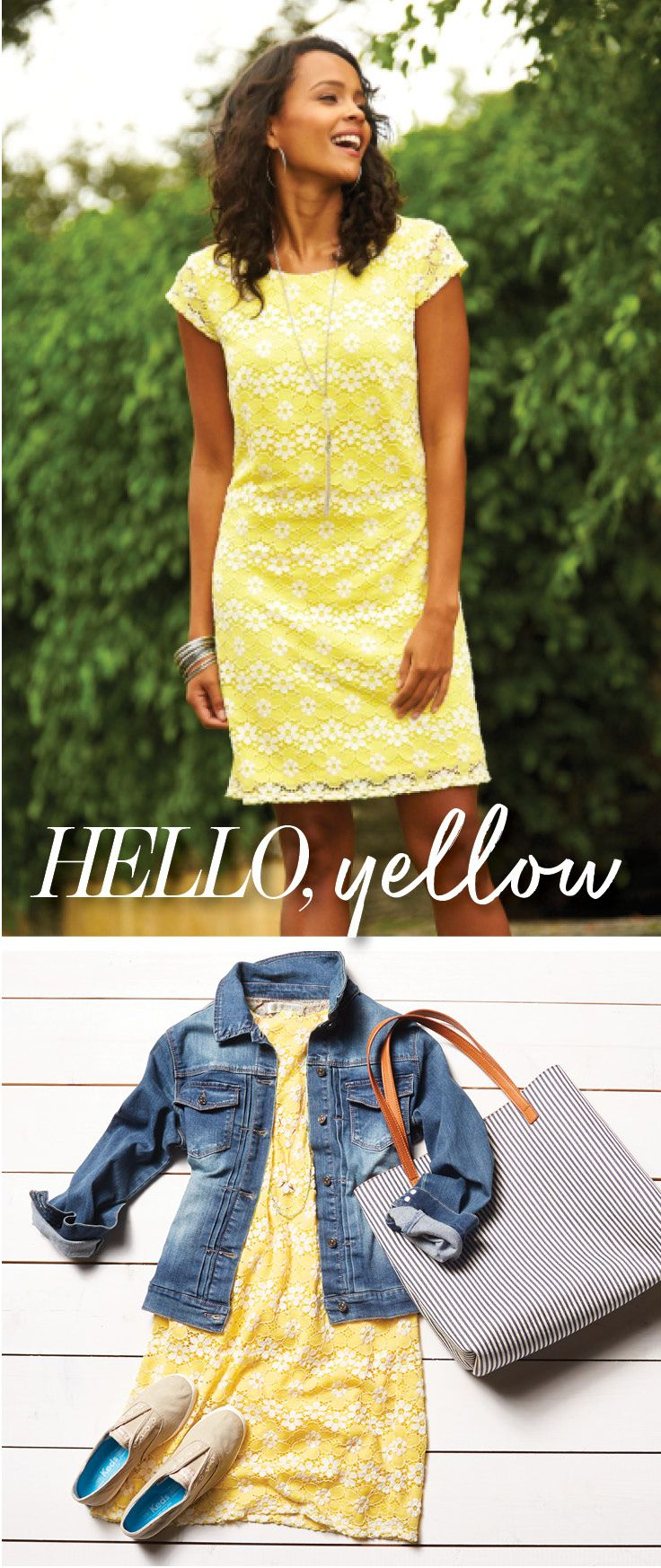 Green dress denim jacket  Yellow shift dress Easily switch from formal to fun with the