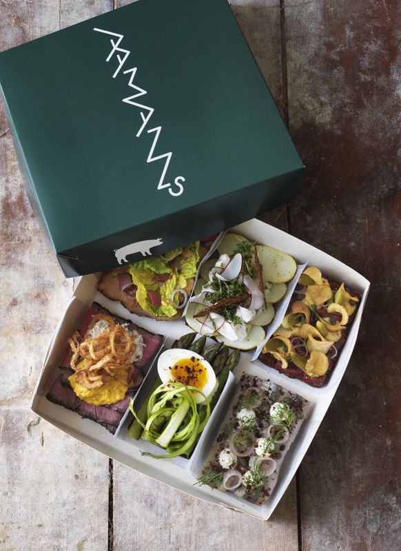 Danish Smørrebrød (open sandwiches) by Restaurant and take-Away Aamanns, Copenhagen. #Denmark