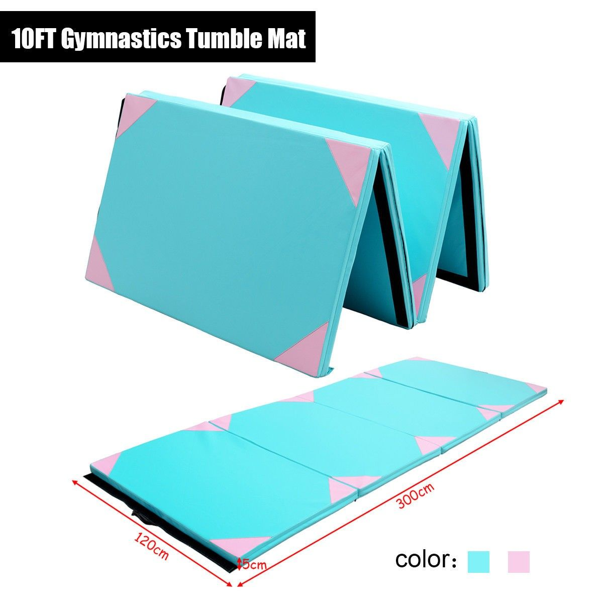 Costway 10ft Gymnastics Tumble Mat Folding Portable Exercise Gym Blue 300x120x5cm This Is Our New 300x120x5cm Folding Gymn Tumble Mats Gymnastics Gym Workouts