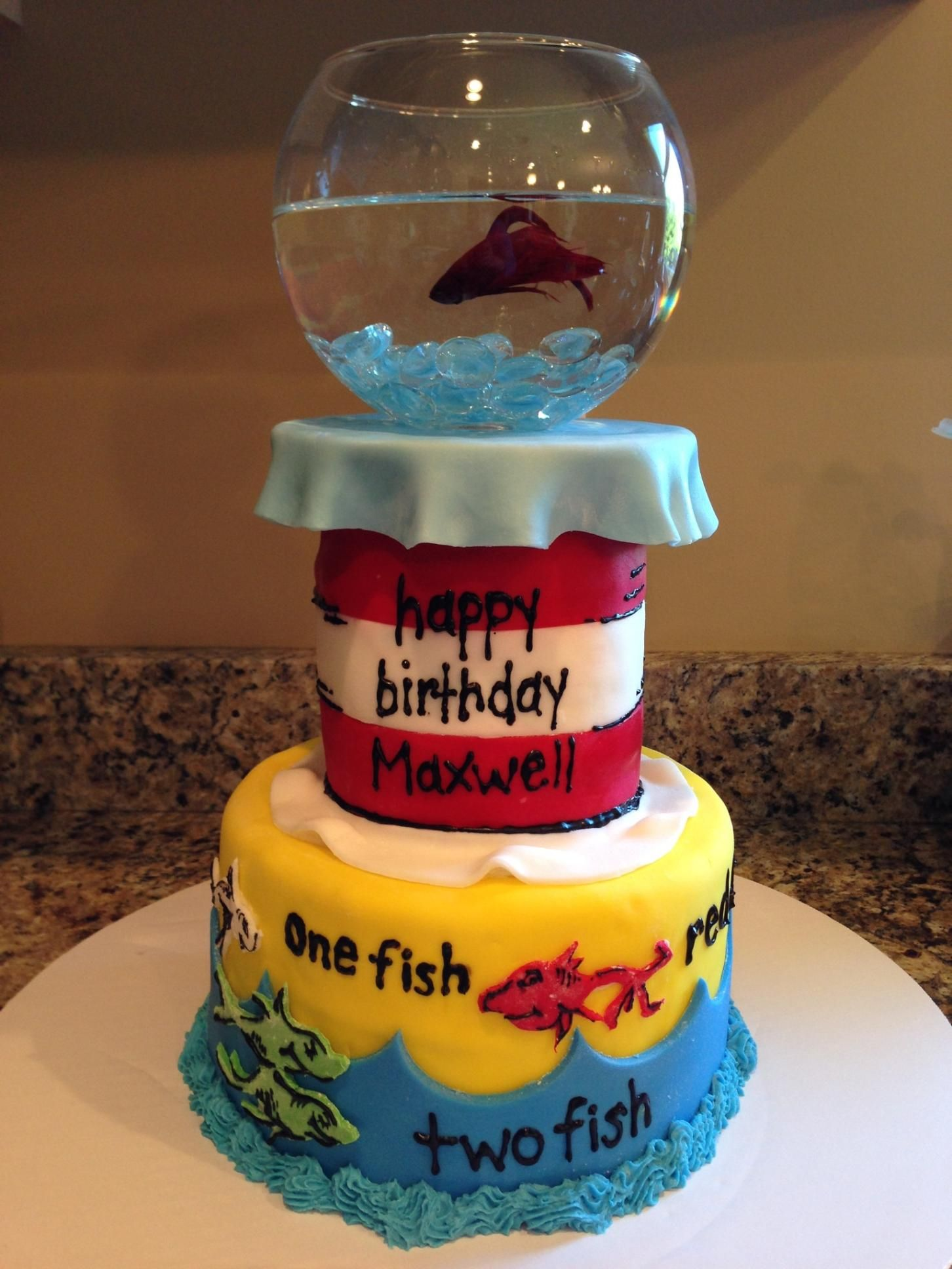 First birthday cake one fish two fish red fish blue fish