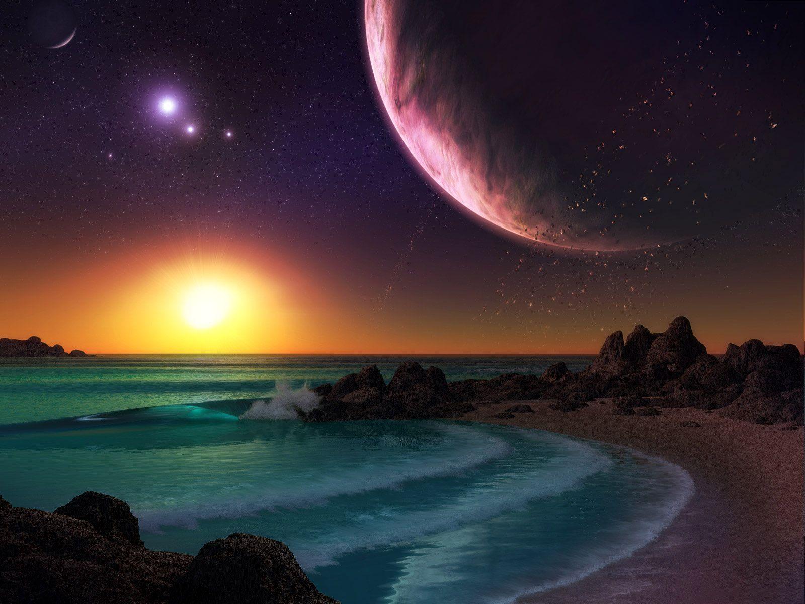2560x1920 Planets Houses Ocean Rocks Sky desktop PC and Mac wallpaper