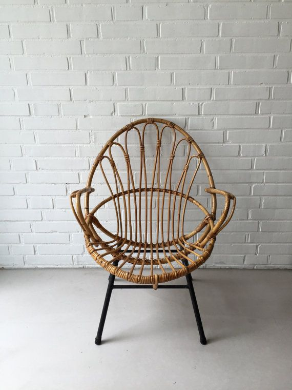 Vintage Rattan Chair, Wicker Chair, Bamboo Chairs, Vintage Loungstuhl, Wicker  Chairs,