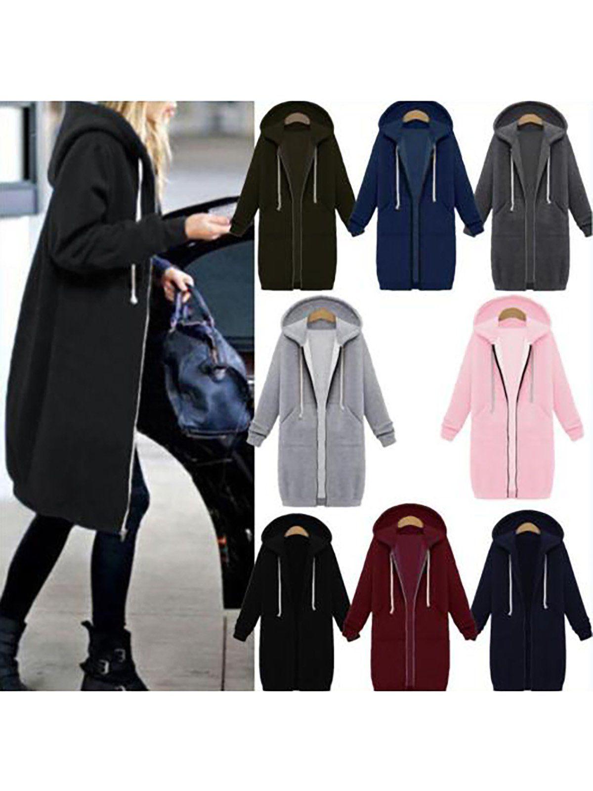 26ffc618333 Women Plus Size Solid Hoodie Zipper Jacket Long Sleeve Plus Size ...