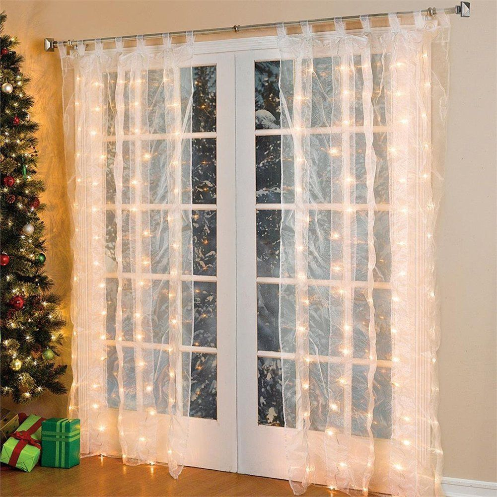weihnachtsdeko fenster led vorhang eiszapfen lichterkette 300 leder innen au en beleuchtung. Black Bedroom Furniture Sets. Home Design Ideas