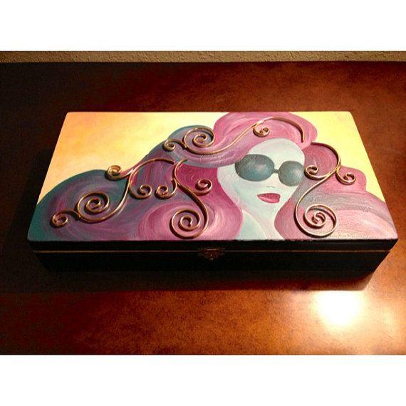 Decorative cigar box, storage box, makeup box, knick knack box on Etsy, $38.00