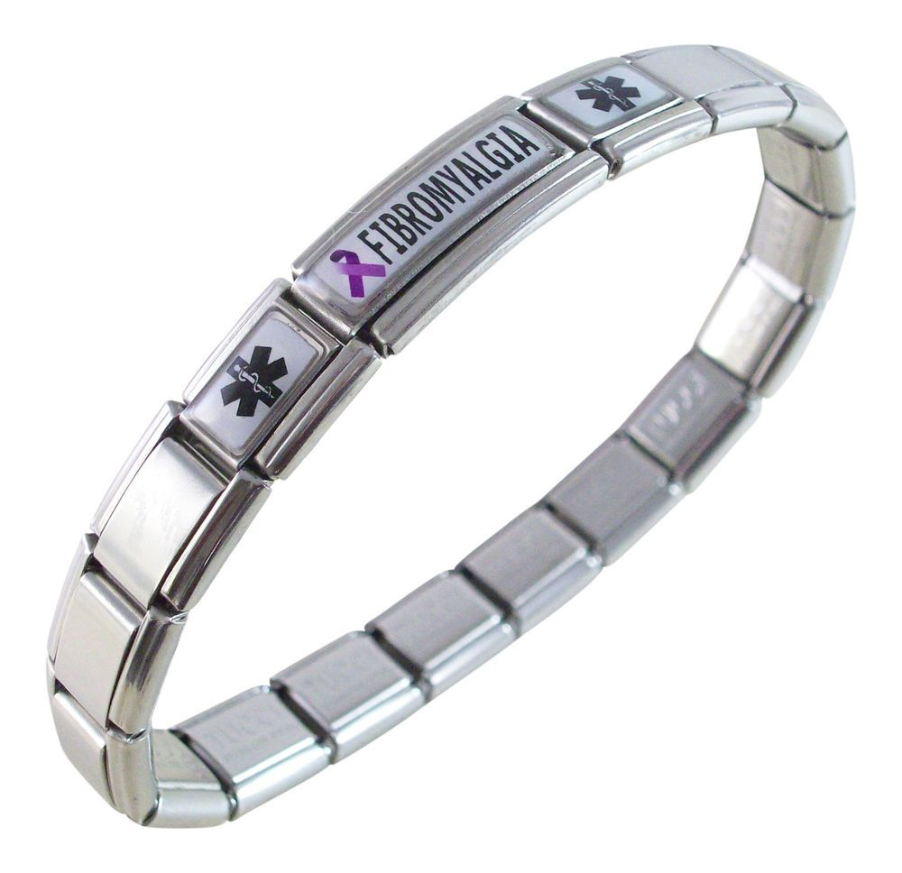 Fibromyalgia Medical Id Alert Italian Charm Bracelet Purple Awareness Ribbon In Jewelry Watches Handcrafted Bracelets Ebay