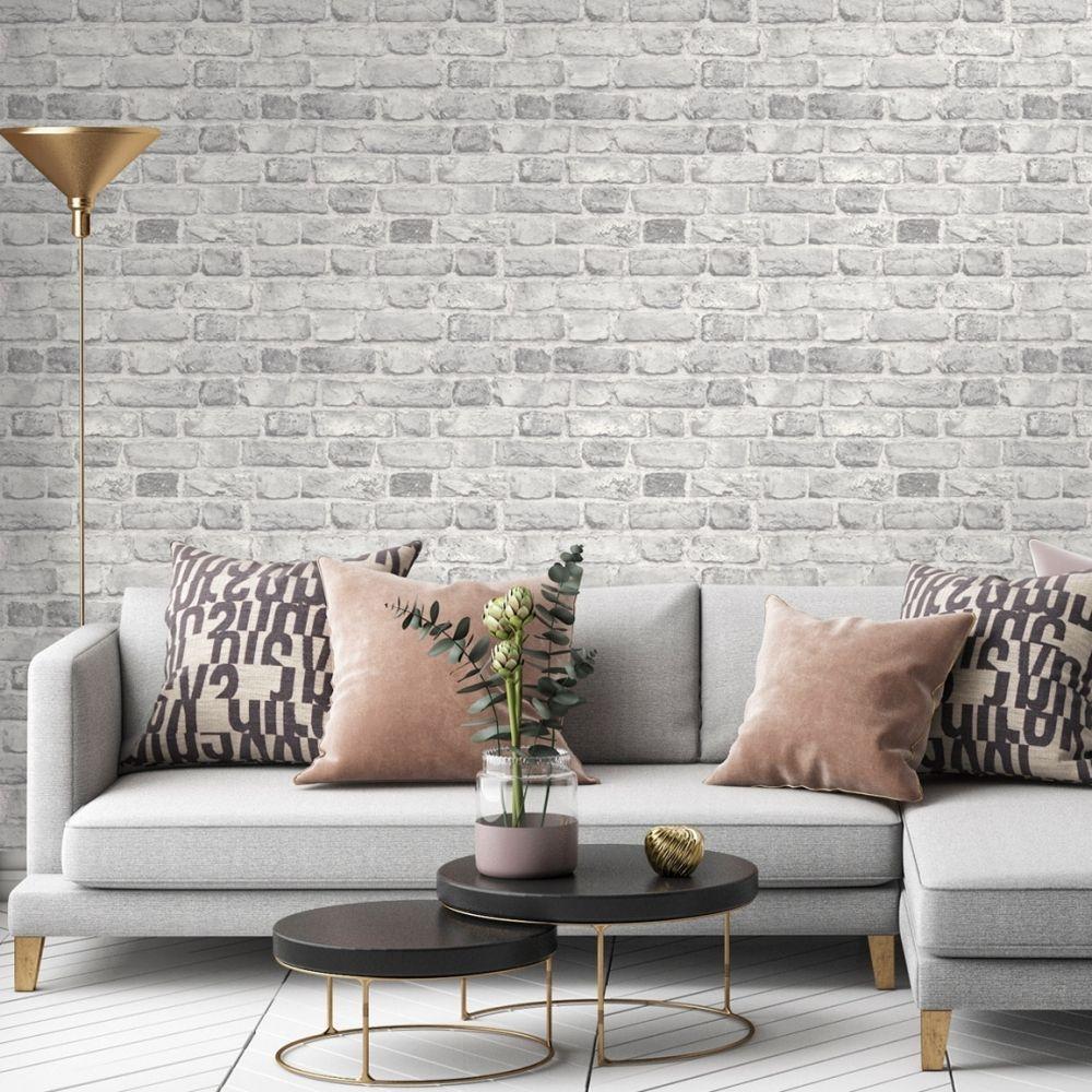 Battersea Brick Wall Effect Wallpaper Grey Feature Wall Living Room Wallpaper Brick Wall Living Room Brick Wallpaper Living Room
