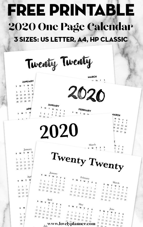 Free 2020 Calendar Printable One Page is part of Printable day planner, Calendar printables, Happy planner printables, Free calendar, Printable yearly calendar, Free planner inserts - 4 Free Printable year at a glance calendar Calendar 2020 Printable One Page  Simple 2020 calendar templates  Planner printables