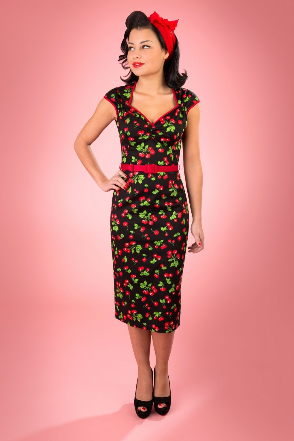50855995fdcd44 Pinup Couture - Natasha Black Cherry Sateen pencll dress Psychobilly