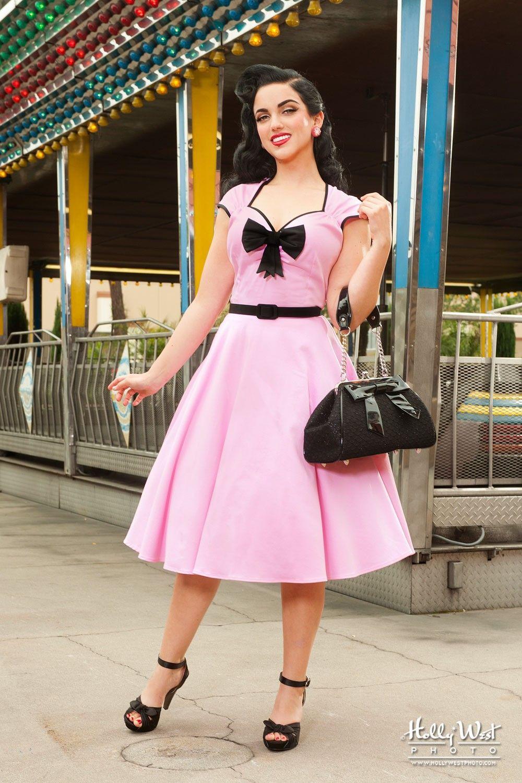 Final Sale OYS - Heidi Dress in Pink with Black Bow   Rockabilly ...