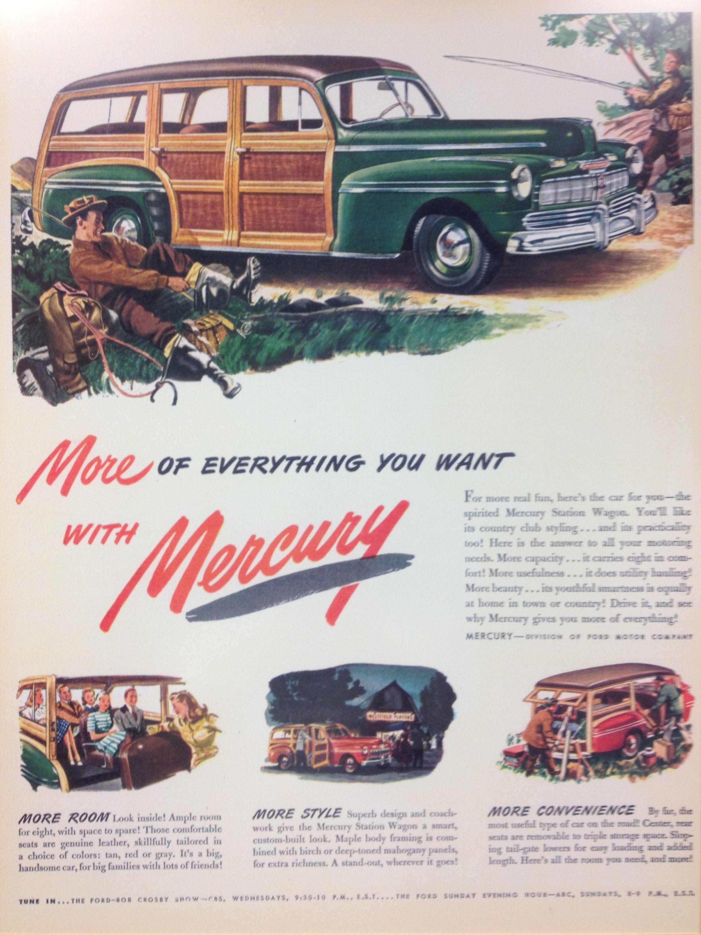 Sweet Mercury Woodie - vintage ad at Kelley Blue Book headquarters