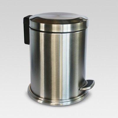Stepcan Wastebasket Brushed Nickel Threshold Waste Basket Bathroom Waste Basket Bathroom Trash Can