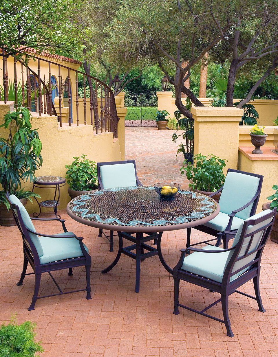 Neille Olson/ KNF Oasis Aluminum Bistro Table ($$2495) With Olympia Arm  Chairs