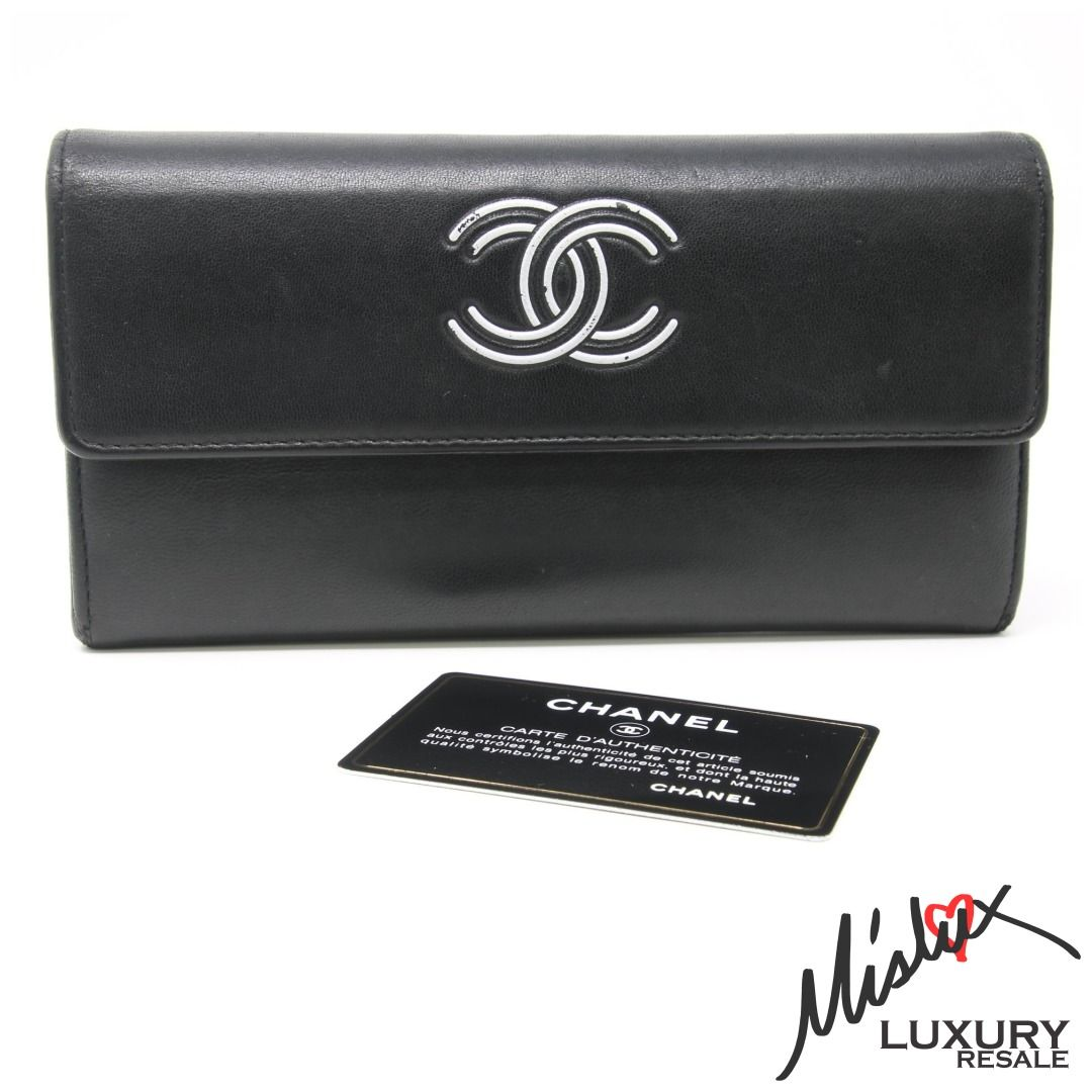 Chanel Black Signature Cc White Logo Retro Long Bifold Lambskin Leather Wallet Lv Consignment Handbag Saintlauren Leather Wallet Lambskin Leather Leather