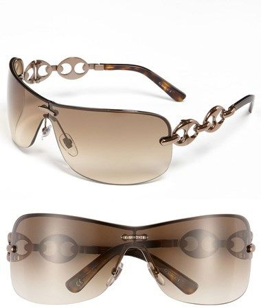 281048cf73233 Gucci Rimless Shield Sunglasses with Chain Detail