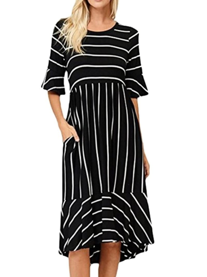 26 Gorgeous Summer Dresses You Can Wear Into Fall Stripped Dress Striped Midi Dress Gorgeous Summer Dresses [ 1067 x 800 Pixel ]