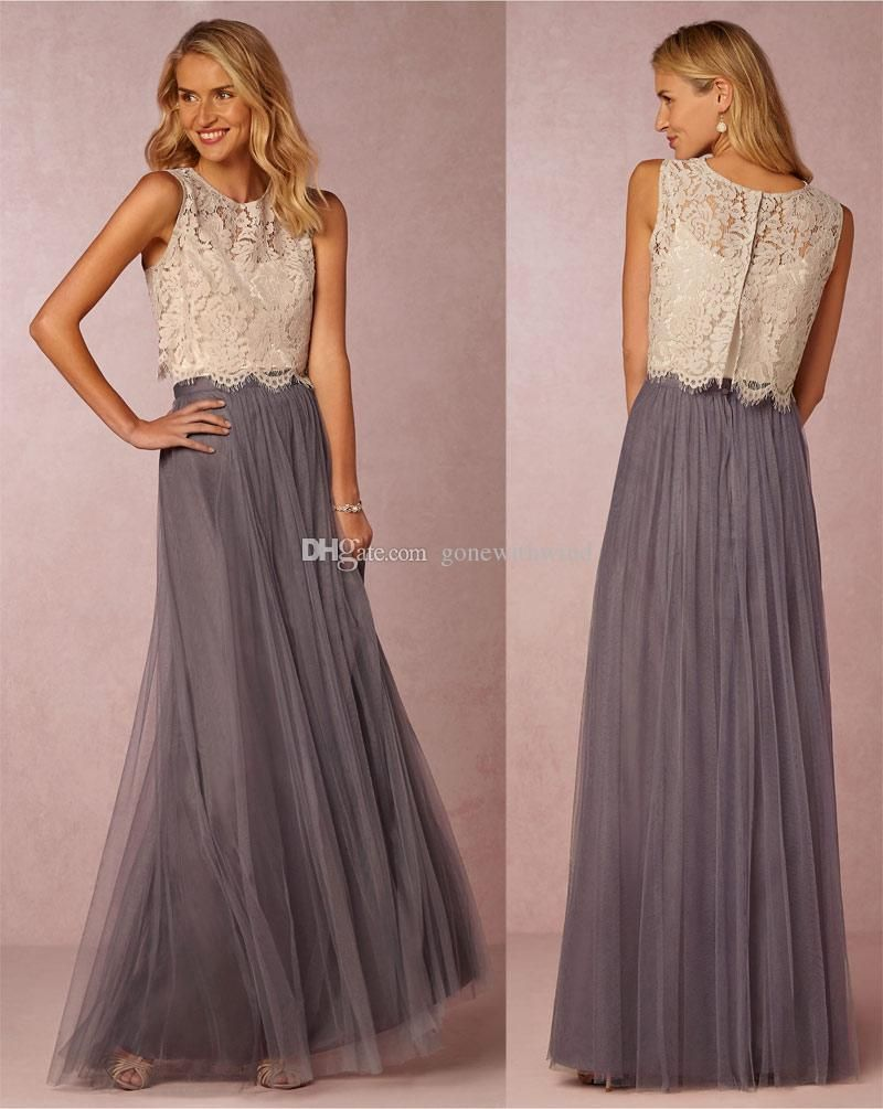 Two piece wedding guest dress   Long Burgundy Bridesmaid Dresses Lace Top And Tulle Skirt