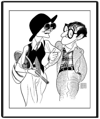 """Brava, DIANE KEATON!  Beautiful acceptance for WOODY ALLEN  at the GOLDEN GLOBES: """"Make New Friends, But Keep the Old..."""" . AL HIRSCHFELD's ANNIE HALL: Original Crow Quill Pen & Ink Drawing on Artists' Board, Hand signed by Al Hirschfeld in Ink, 1977, 27"""" x 21"""" Al Hirschfeld Archive #10001  Available as a Giclée from Hirschfeld's exclusive representative, the MARGO FEIDEN GALLERIES LTD., NEW YORK."""