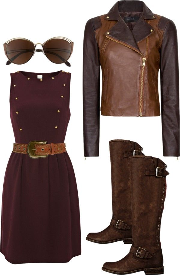 """""""burgundy and brown"""" by suwweli ❤ liked on Polyvore"""