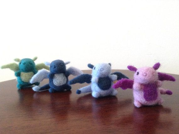 Needle Felted Dragon Magnets Wool miniatures by WildWhimsyWoolies #feltdragon