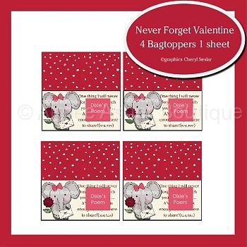 Never Forget Valentine Bag Toppers :: Valentine's :: Holidays :: Aimee Asher Boutique