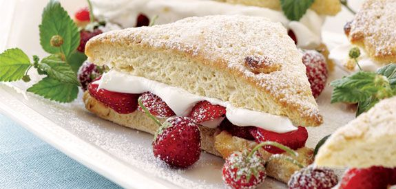 White Chocolate Chip Shortcake with Strawberries